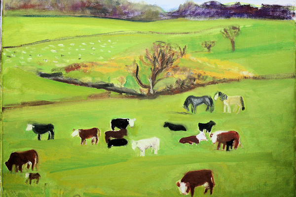 Pastures, oil on canvas, 16 x 20, 2012